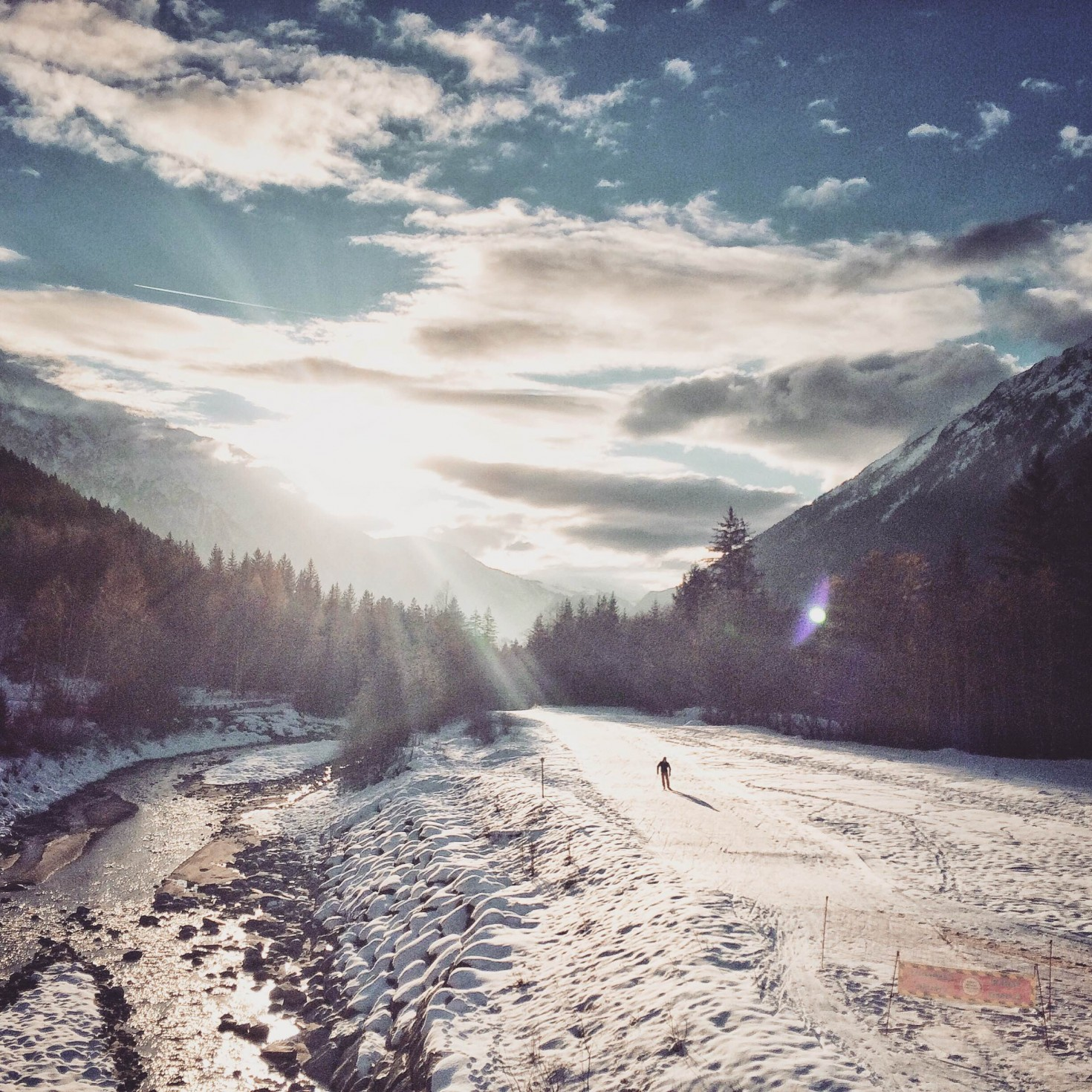 Chamonix cross country skiing by the river
