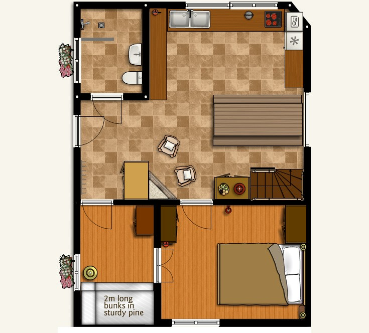 Chamonix chalet floorplans: Ground floor