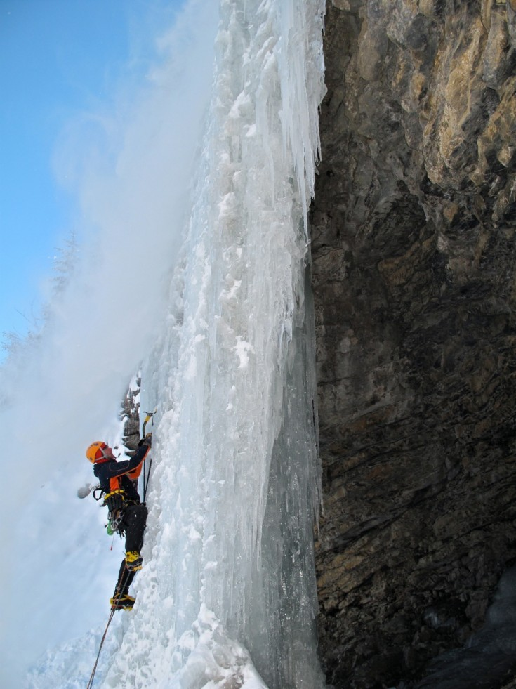 Chamonix ice climbing - Neil leads up the frozen waterfall