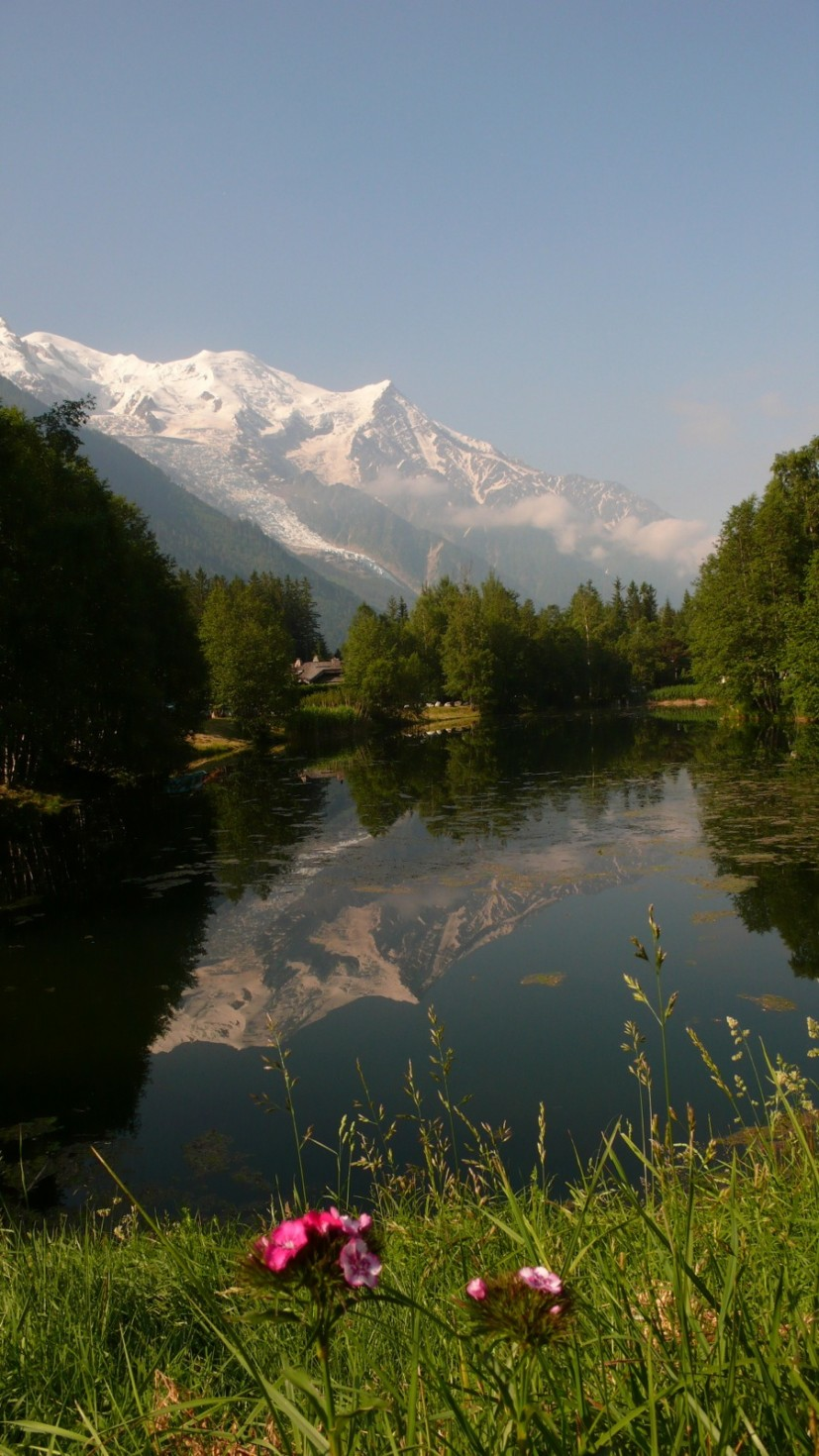 Mont Blanc reflected in Les Praz lake