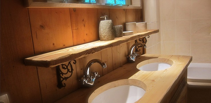 Bathroom with shower, bathtub and double sinks