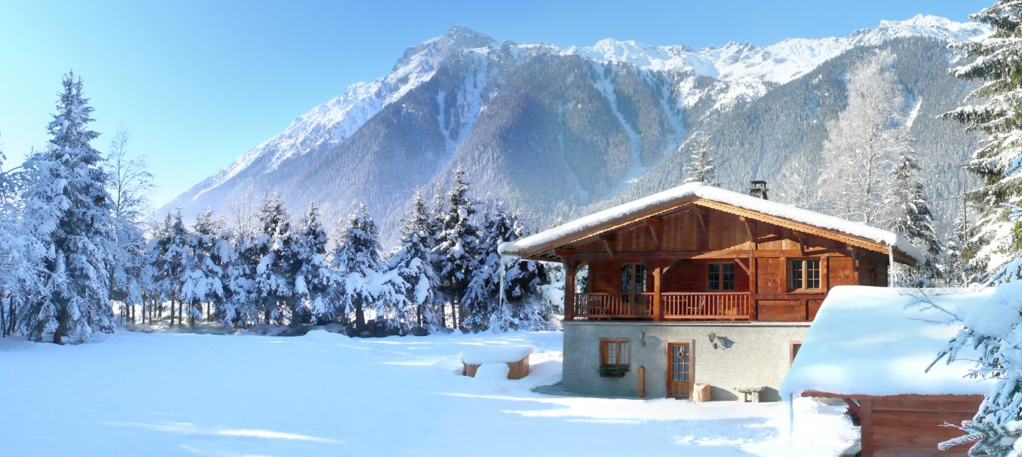 Chamonix winter -  ski area Brévent behind the chalet