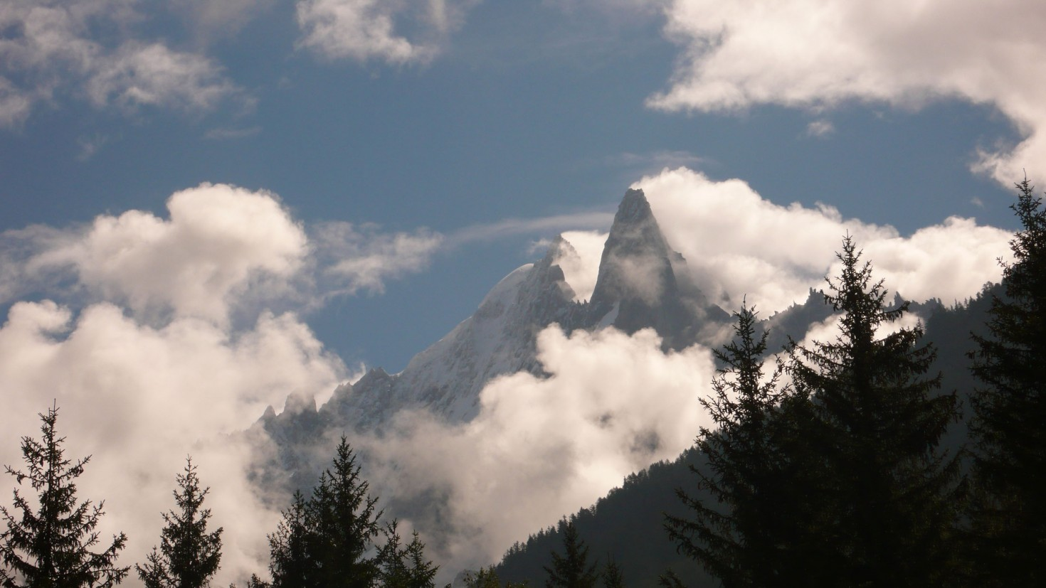 Clouds swirling around The Dru, seen from the balcony