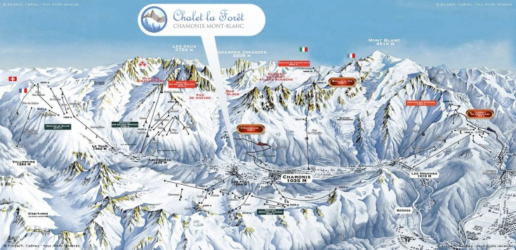 Chamonix's ski areas, with our position within them marked