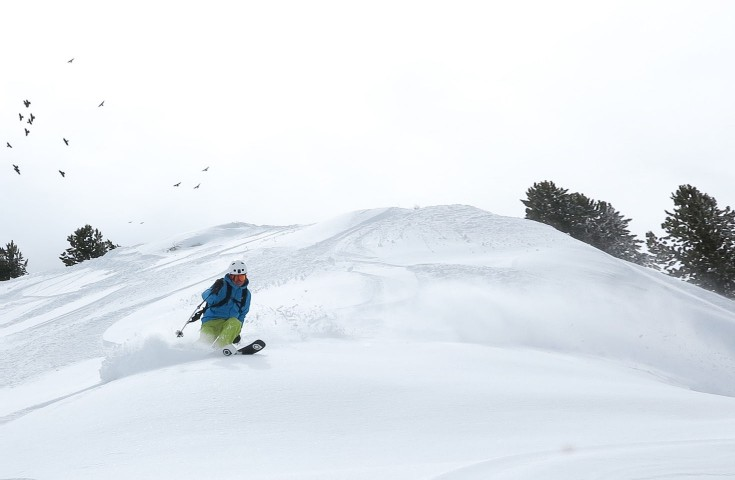 Powder turns at Les Grands Montets