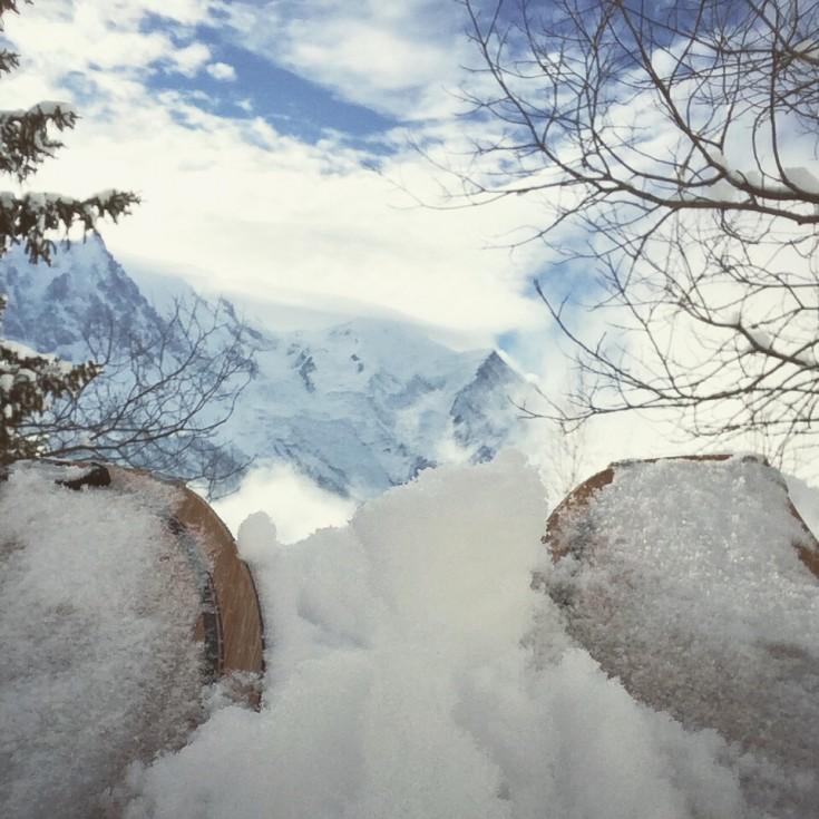 Splitboarding eye view of Mont Blanc