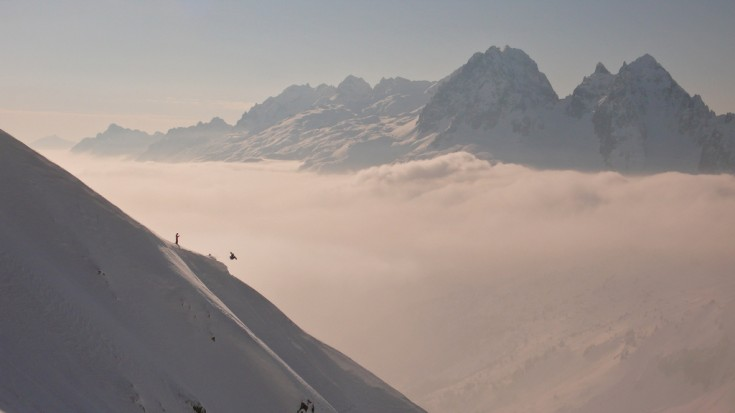 Grands Montets - Snowboarders above the clouds