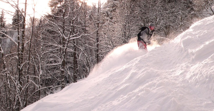 Chamonix Snowboarding - Powder in the trees at Les Houches