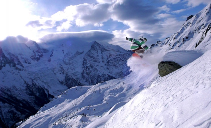 Snowboarding in Chamonix, Brevent