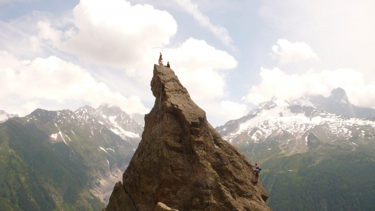 Climbing on the Aiguillette d'Argentiere
