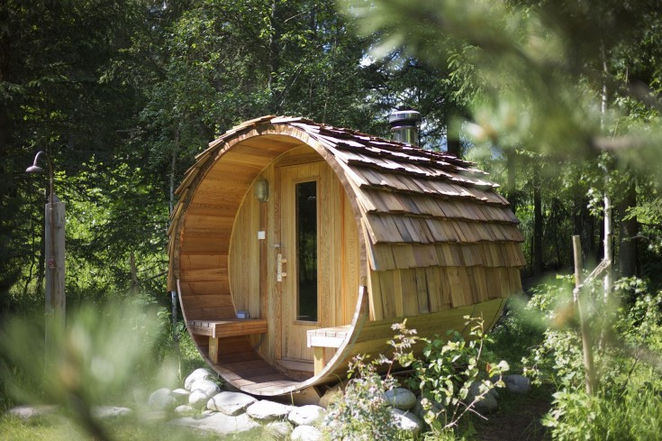 The wood-burning sauna in summer