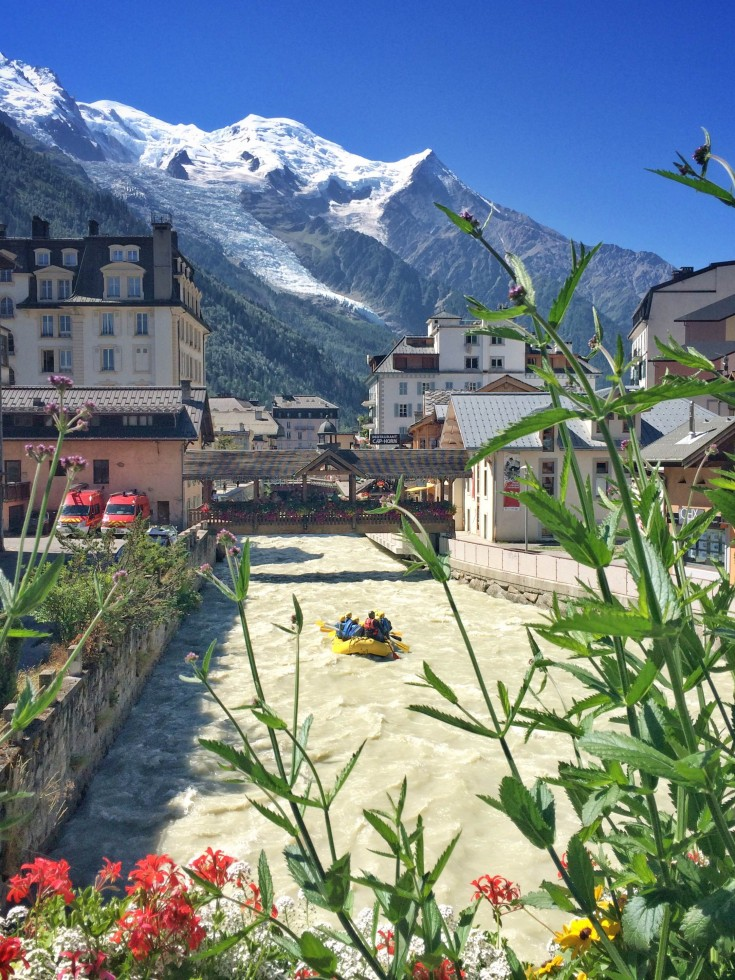 Rafting through Chamonix centre