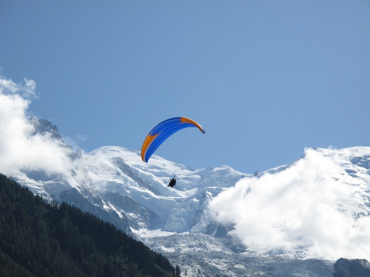 Paragliding in front of Mont Blanc