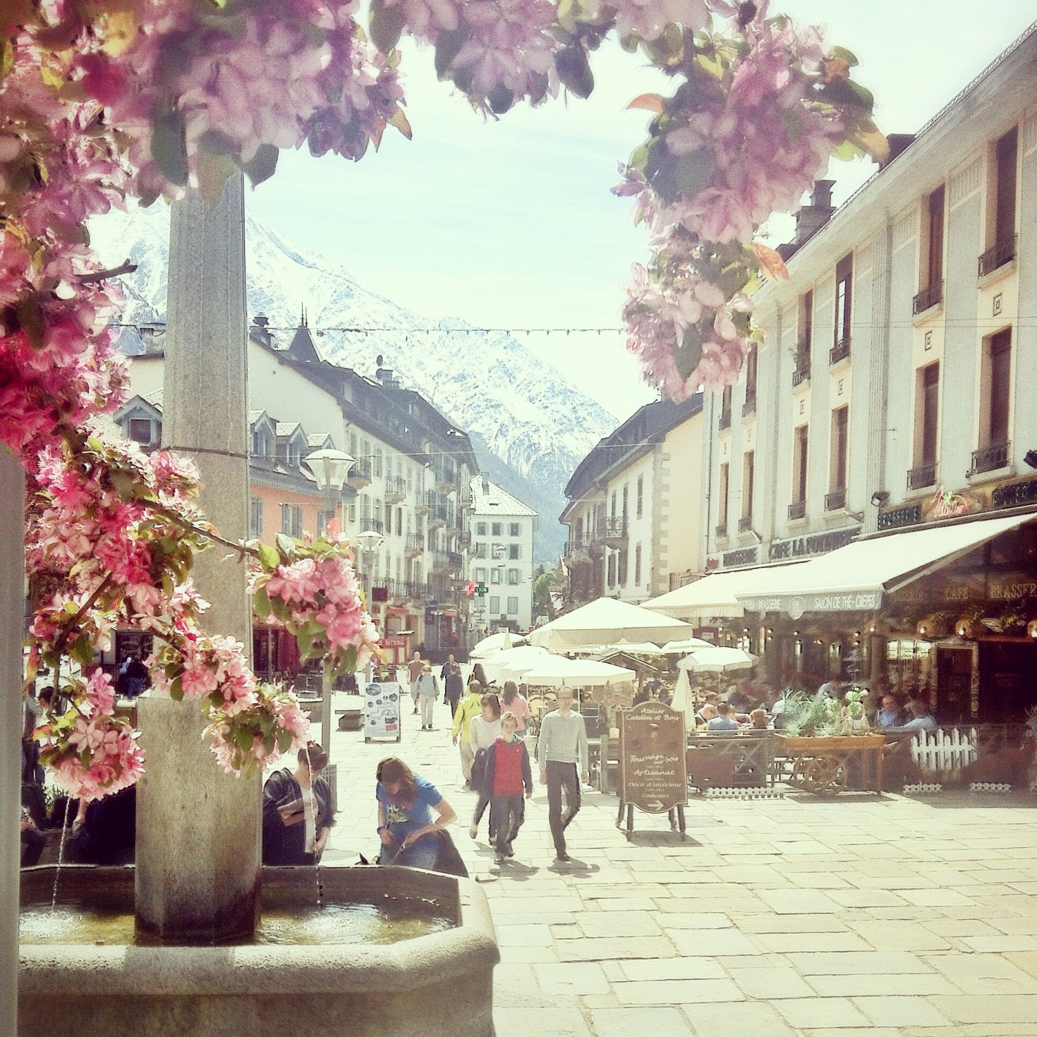 Chamonix town centre in spring