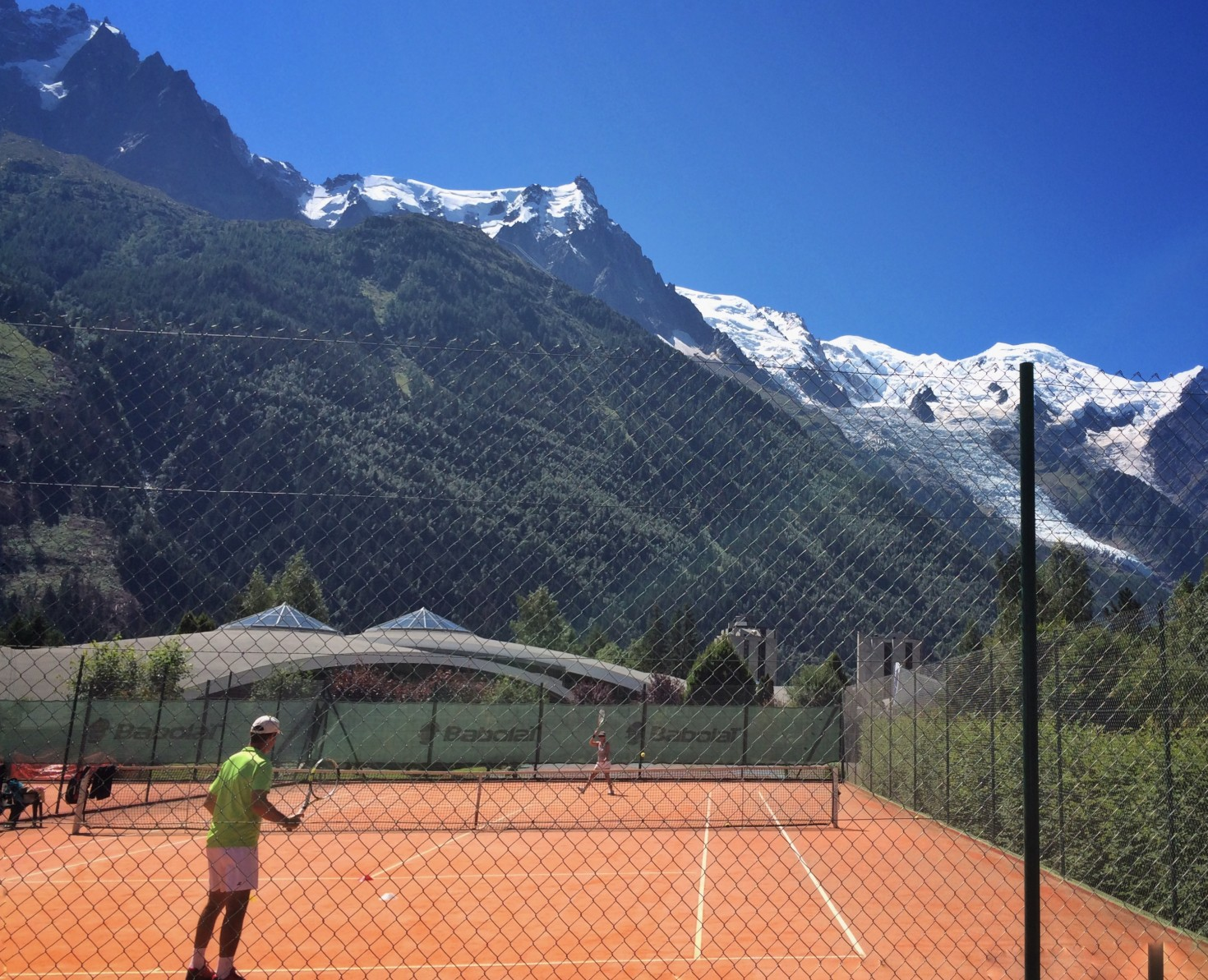 Mont Blanc above the tennis courts